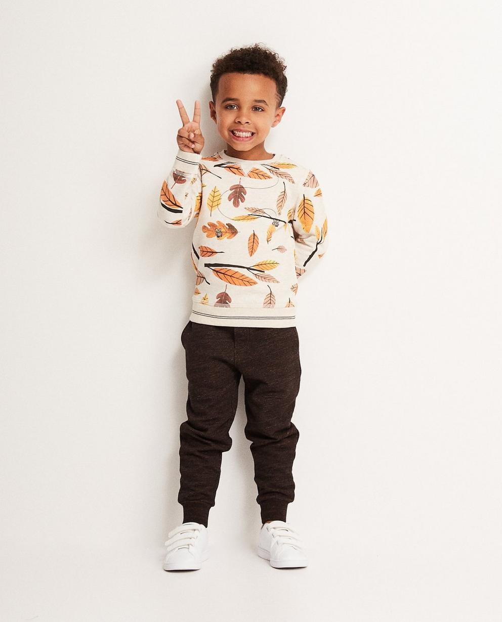 Beiger Sweater - mit durchgehendem Blätterprint - JBC